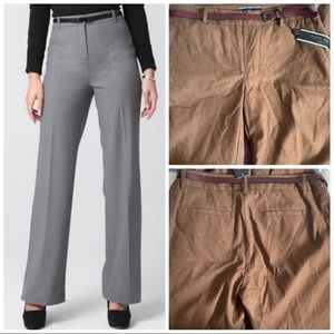 Apparel Brown Belted Wide-Leg High Rise Pants New